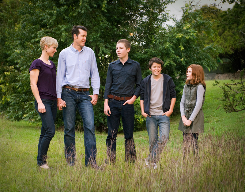Family photography session in parkland