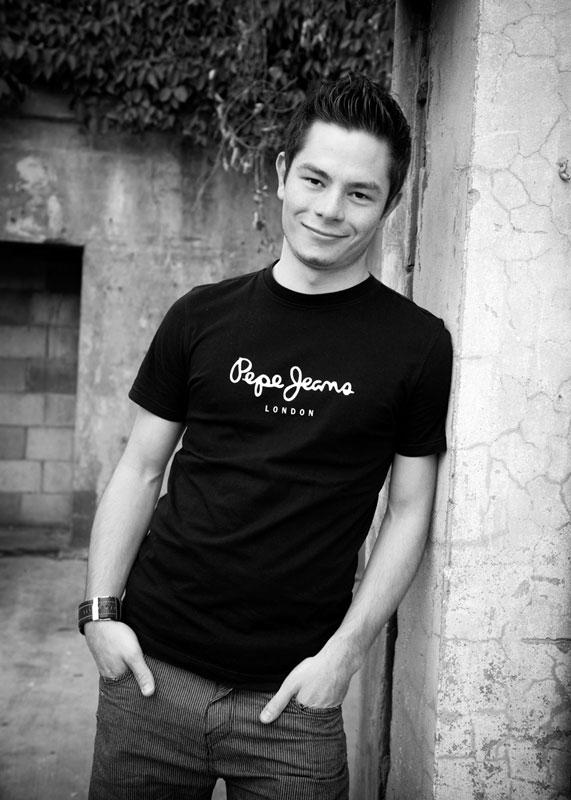 handsome teen at powerhouse Brisbane wearing Pepe Jeans shirt