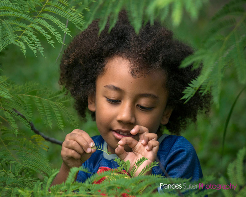 candid image of curly haired boy playing with leaf in garden fern