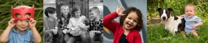 a banner of childrens portraits in colour and black and white with a variety of different kids of different age groups