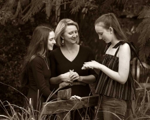 mother and daughter photoshoot sepia photo