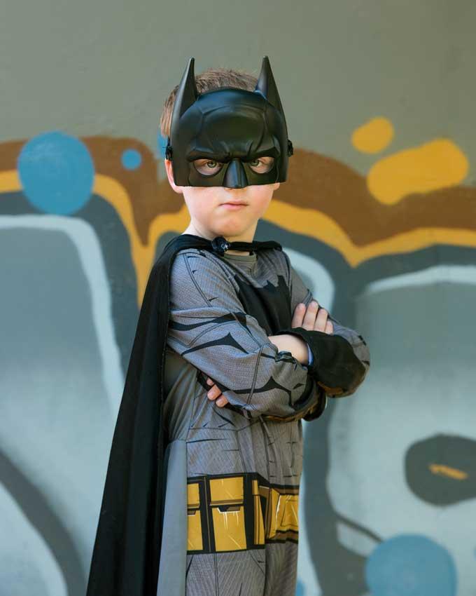 fancy dress kids party Brisbane Batman costume photoshoot
