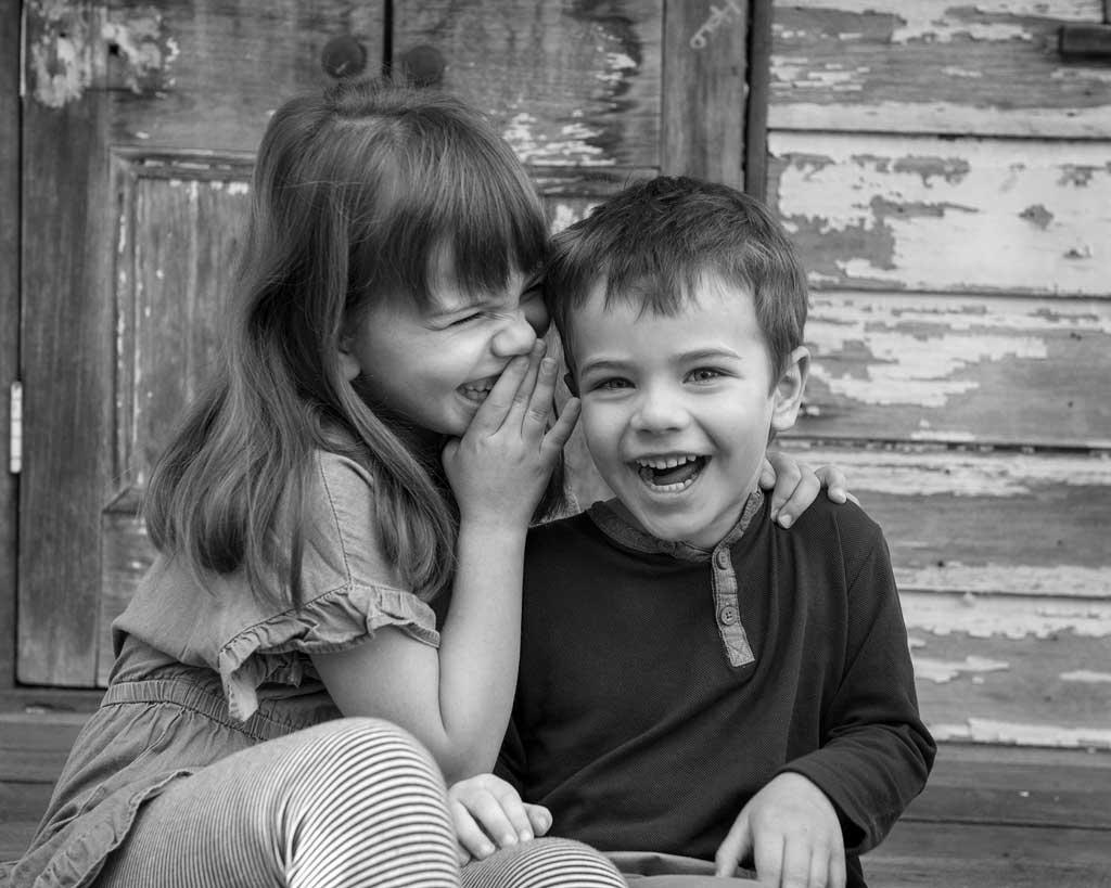 candid kids portrait laughing at Brisbane photoshoot
